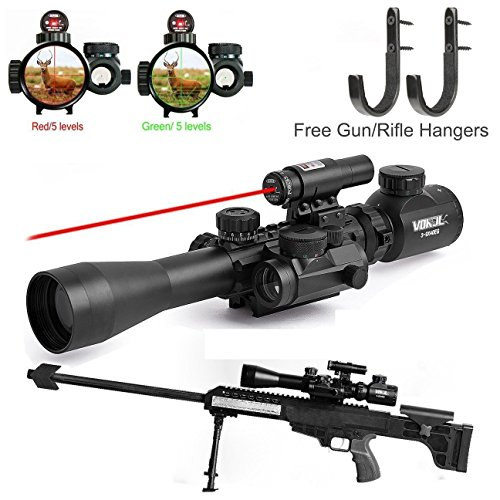 Vokul-Tactical-3-9x40mm-Illuminated-Rifle-Scope-with-Red-Laser-and-Red-Dot-Sight-of-Red-Green-Reticle-Mount