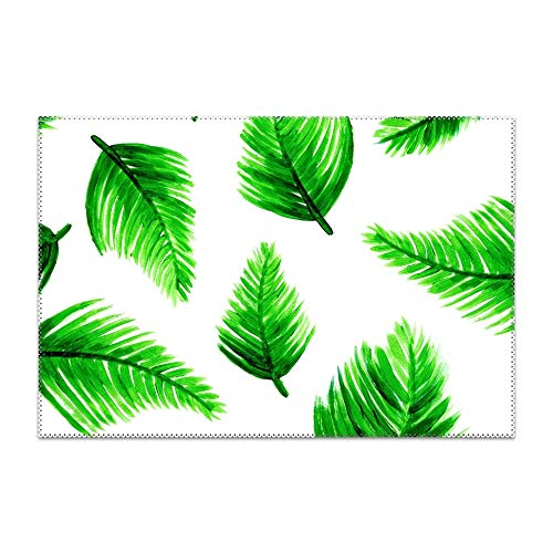 Michael Trollpoe Green Leaves Fall Place Mats, Washable Fabric Placemats for Dining Room Kitchen Table Decor