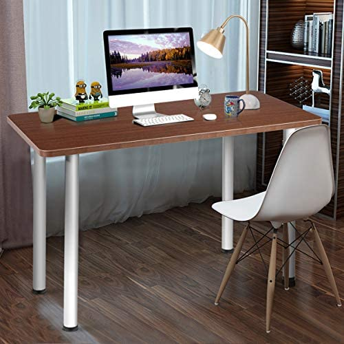 Tangkula 47 Computer Desk, Multi-Use Writing Table Modern Simple Study Desk Writing Desk for Home Office, Large Heavy-Duty Work Table Laptop Desk Table Office Furniture with Round Corner Coffee