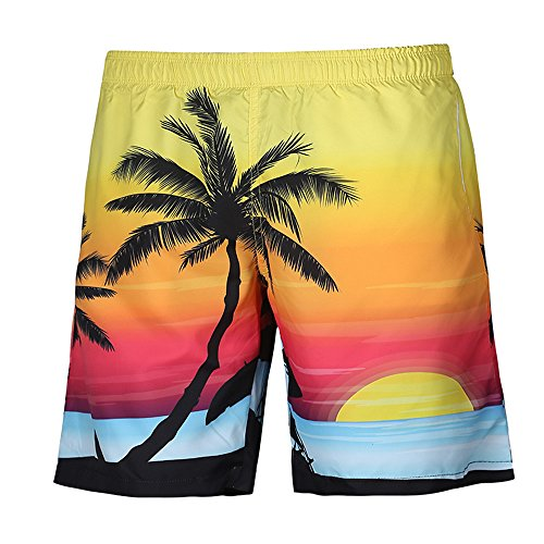 (iLXHD Men's Summer Casual Tropic Hawaii Palm 4D Printed Beach Shorts Pants )