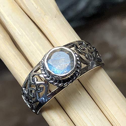 (Natural Blue Iridescence Labradorite 925 Sterling Silver Filigree Engagement Ring sz 6, 7, 8, 9)