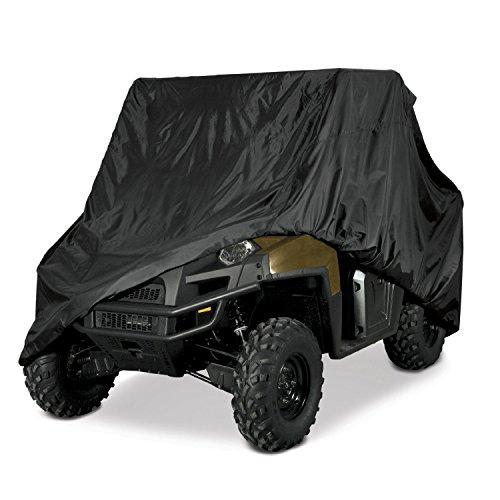 UTV HEAVY DUTY BLACK OR CAMO WATERPROOF UTV SIDE BY SIDE COVER FITS UP TO 124'L W/ ROLL CAGE ATV COVER RHINO RANGER MULE GATOR PROWLER RAZOR RECON PIONEER VIKING WOLVERINE (2 YEAR WARRANTY) (BLACK)