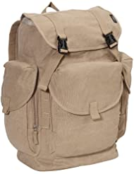 Everest Luggage Canvas Backpack, Khaki, Khaki, One Size
