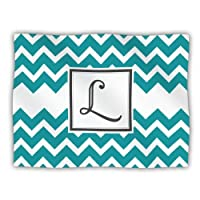 "Kess InHouse KESS Original ""Monogram Chevron Teal Letter L"" Pet Dog Blanket, 60 by 50-Inch"