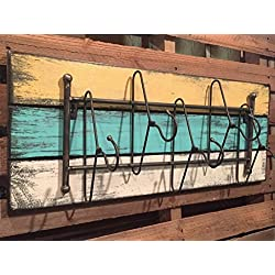 COATRACK with HANGER 5 metal hooks 32 Unique Rustic Distressed Reclaimed Coat Hat Towel Robe Rack for Entryway Kitchen Bathroom Laundry Room *Blue Yellow Antique White *STURDY SOLID METAL