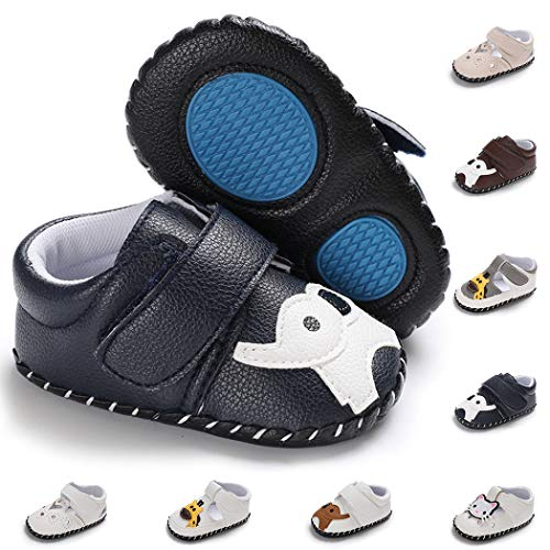 (Baby Girl Boy Infant Shoes Toddler PU Leather Soft Sole Cartoon Slippers Baby Loafers Newborn Crib Shoes(6-12 Months M US Infant,A-Elephant-Dark Blue))