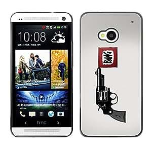 TopCaseStore / la caja del caucho duro de la cubierta de protección de la piel - Bang Pistol Gun - HTC One M7