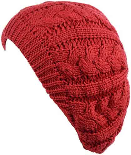 0fd21bb5a7994 Be Your Own Style BYOS Women s Winter Fleece Lined Urban Boho Slouchy Cable Knit  Beret Beanie