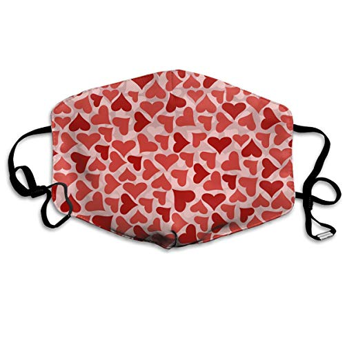 Anti-Allergens Flu Dust Face Masks, Earloop Half Face Mask for Women Men, Travel Hiking Face and Nose Cover with Adjustable Elastic Strap - Love Heart Patterns ()