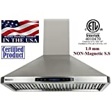 """XtremeAir PX02-W36 900 CFM LED lights, Baffle Filters with Grease Drain Tunnel, 1.0mm Non-Magnetic Stainless Steel Seamless Body, Wall Mount Range Hood, 36"""""""