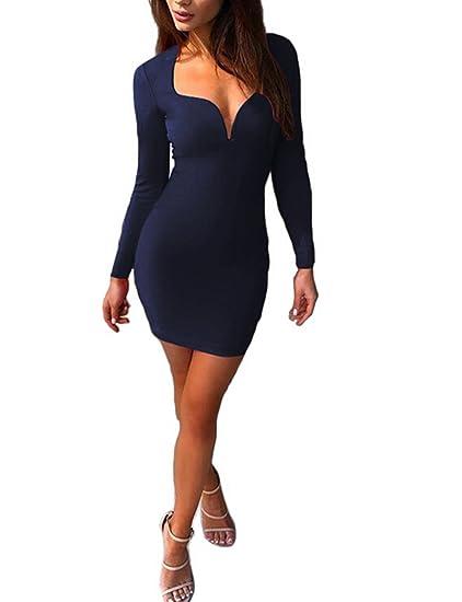 cf3e209dd0 Marsarah Sexy Women Deep V neck Long Sleeve Bodycon Clubwear Party Mini  Dress (Blue