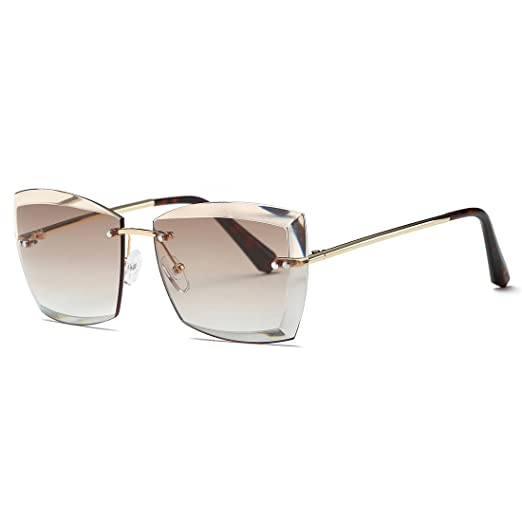 9ac80a051a AEVOGUE Sunglasses For Women Oversized Rimless Diamond Cutting Square  Glasses AE0528 (Gold Brown