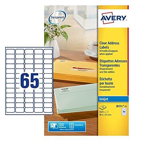 Avery J8551-25 - Etiquetas adhesivas para impresoras (25 hojas ...