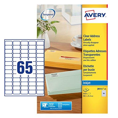 (Avery J8551-25 Self-Adhesive Clear Mini/Return Address Labels, 65 Labels Per A4 Sheet)