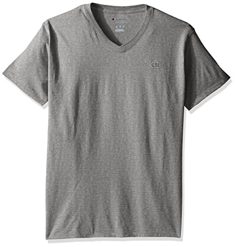 Champion Men's Classic Jersey V-Neck T-Shirt, Oxford Gray, S -