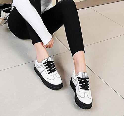 KUKI Kleine weiße Schuhe, Damen Freizeitschuhe am Ende der Plattform Schuhe lose Schuhe black