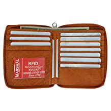 RFID Blocking Mens Leather Zippered Wallet