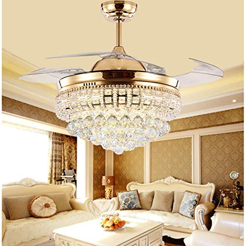 Lighting Groups 42 Invisible Ceiling Fans with LED Light Remote Control 4 Retractable Clear ABS Blades Bedroom Livingroom Crystal Fan Chandelier Indoor Ceiling Light with Fans 42 Inch, Gold