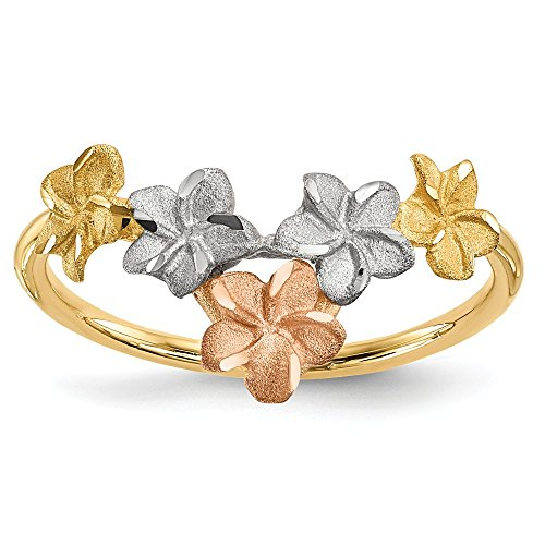14k Two Tone Yellow Gold White Flowers V Shaped Band Ring Size 7.00 Flowers/leaf Fine Jewelry Gifts For Women For Her