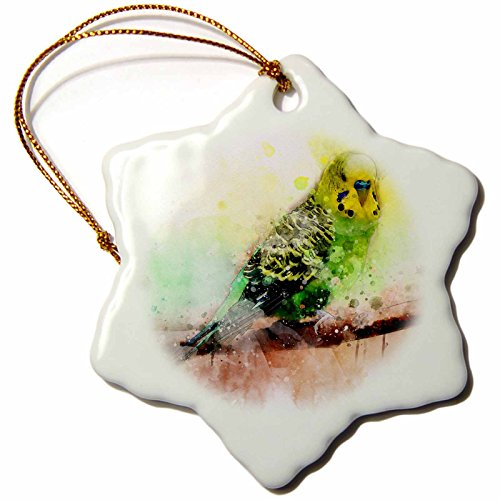3dRose Sven Herkenrath Animal - Budgie Budgerigar Parakeet with Watercolor Style - 3 inch Snowflake Porcelain Ornament (orn_280365_1)