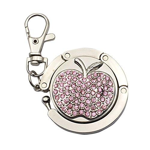 JewelBeauty Full Rhinestone Apple Pattern Folding Bag Handbag Hanger Metal Table Hook Holder Keychain Keyring (Pink)