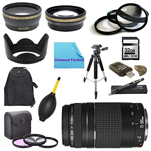 """Price comparison product image Pro Shooters Package for Canon EOS 7D Camera: Includes 1x Canon EF 75-300mm f / 4-5.6 III Telephoto Zoom Lens for Canon SLR Cameras,  1x Dust Cleaner Blower,  1x Ultra High Speed 32GB SDHC Memory Card,  1x USB SD Card Reader,  1x 2.2x Pro Telephoto Lens,  1x .45x Pro Wideangle Lens 1x 3 Piece Filter Kit,  1x 4 Piece Close Up Macro Filter Set,  1x Lens Cleaning Pen , 1X Backpack ,  1x 72"""" TRIPOD ,  1x Hard Tulip Lens Hood and 1x Closeout Factory Microfiber Cleaning Cloth"""