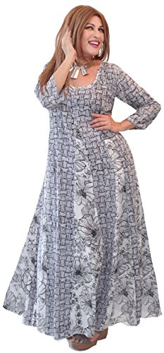 LOTUSTRADERS Damen Batik Langarm Kleid Smocke brown TttJJ