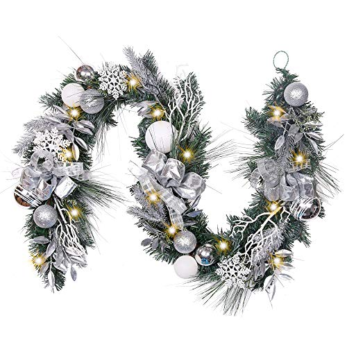 Valery Madelyn Pre-Lit 72 Inch Frozen Winter Silver White Christmas Garland with Shatterproof Ball Ornaments, Snowflakes, Pine Cones, Ribbons and Flowers, Battery Operated 20 LED Lights (White Garland Buy Christmas)