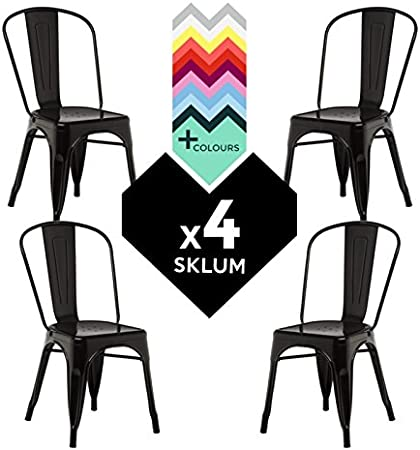 SKLUM Silla TOLIX (Pack 4) - Silla Industrial Metálica Negro - (Elige Color): Amazon.es: Hogar
