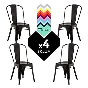 Chaise tolix pack 4 chaise en métal industriel sklum