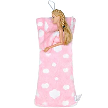 E-TING Handmade Fluff Sleeping Bag for Girl Doll Bedroom Accessories (Pink  Heart)