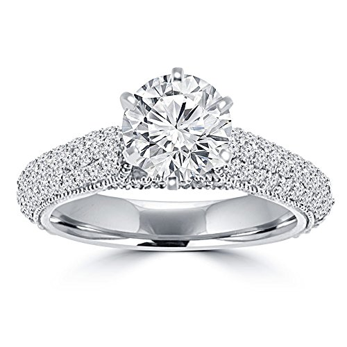 2.00 ct Ladies Round Cut Diamond Engagement Ring in Pave Set in 14 kt White Gold In Size 9.5