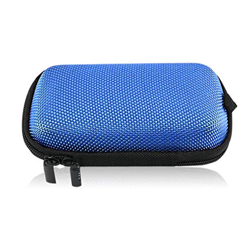 Portable Earbud Case Coffea Earphone Headphone Case Rectangle Hard EVA Travel Carrying Pouch Storage Bag for Earphone Bluetooth Headset USB Flash Drive Cable Charger (Blue)