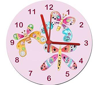 Tigerlilyprint - Reloj para habitación de niña, con Reloj silencioso, antirasguños, para contestar la Hora: Amazon.es: Hogar