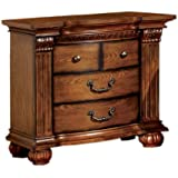 Furniture of America Lannister Elegant Nightstand, Antique Tobacco Oak Finish