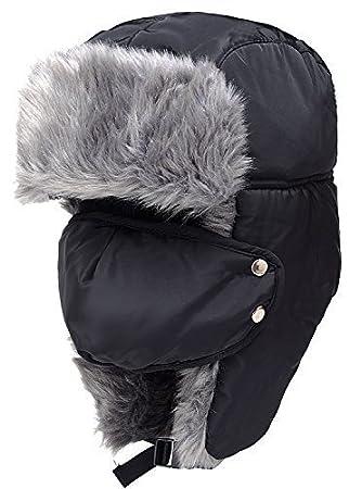 BXT Unisex para mujer para hombre máscara de desmontable de piel sintética de invierno resistente al viento Trapper sombrero con orejeras térmica esquí snowboard sombrero g