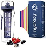 Hydracy Fruit Infuser Water Bottle - 32 Oz Sports Bottle with Full Length Infusion Rod, Time Mark and Insulating Sleeve Combo Set + 27 Fruit Infused Water Recipes eBook Gift - Blue Berry