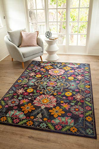 Avalon Rugs Vibrant Bloom Bohemian Gypsy Collection  Area Rug 8'x10' Black ()