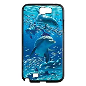 Diy Cute Dolphin Custom Cover Phone Case for samsung galaxy note 2 Black Shell Phone [Pattern-3]