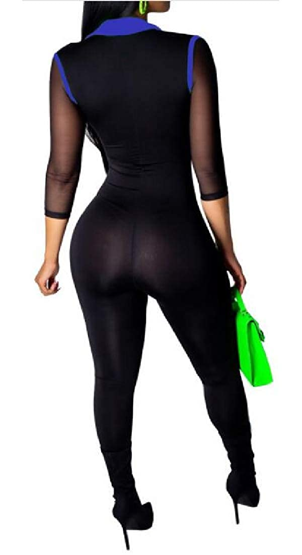 pipigo Womens Deep V-Neck Zipper Clubwear Patchwork Mesh Jumpsuit Romper