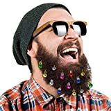 DecoTiny 16pcs Beard Ornaments. 4 Sounding Jingle Bells and 12 Colors of Christmas Baubles. Great Gift Idea! (16 Beard Bells)