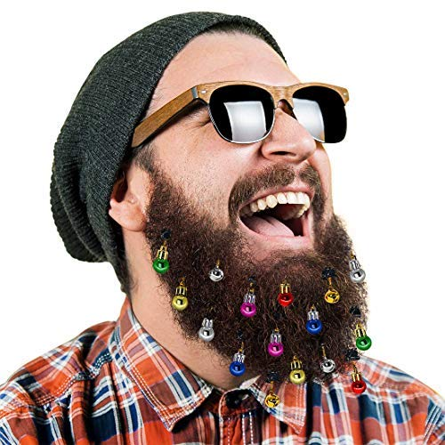 DecoTiny 16pcs Beard Ornaments. 4 Sounding Jingle Bells and 12 Colors of Christmas Baubles Great Gift Idea! (4 Bell+12 Baubles) (Christmas Show Baubles)