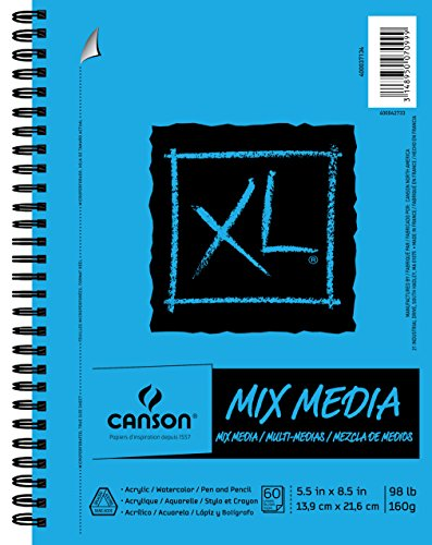 "Canson XL Series Mix Media Pad, 5.5"" x 8.5"", Side Wire Bound, 60 Sheets (400037134) from Canson"