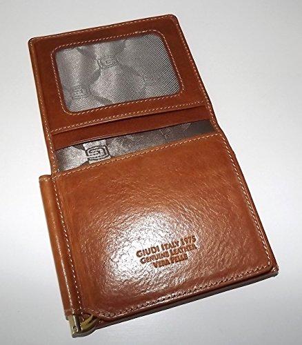 Leather Italia Giudi Men's ID Wallet Money Clip L Cognac fold Tuscan gwHHdt