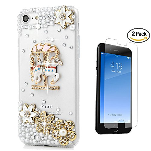 STENES iPhone 8 Case - 3D Handmade Luxury Carousel Flowers Sparkle Rhinestone Design Cover Bling Case for iPhone 7 / iPhone 8 Screen Protector & Retro Bowknot Dust Plug - White (Carousel Retro)