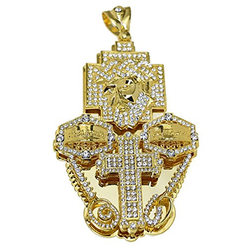 Huge 3D Jesus Piece Combo Head Cross Last Supper Gold Finish Big Iced-Out Hip Hop Charm Pendant -