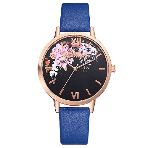 SADUORHAPPY Women Silicone Printed Flower Causal Quartz Wrist Watches Chronograph PU Band Silicone Watch ()