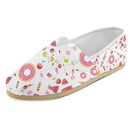 InterestPrint Women's Loafers Classic Casual Canvas Slip On Fashion Shoes Sneakers Mary Jane Flat Sweets, Fruits, Cocktails, Ice Cream and Donuts Ice Cream Shoes Women