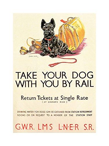 TRAVEL VINTAGE AD POLICY DOGS RAIL TRAIN SCOTTISH TERRIER FRAMED PRINT F12X6869 Ad Train