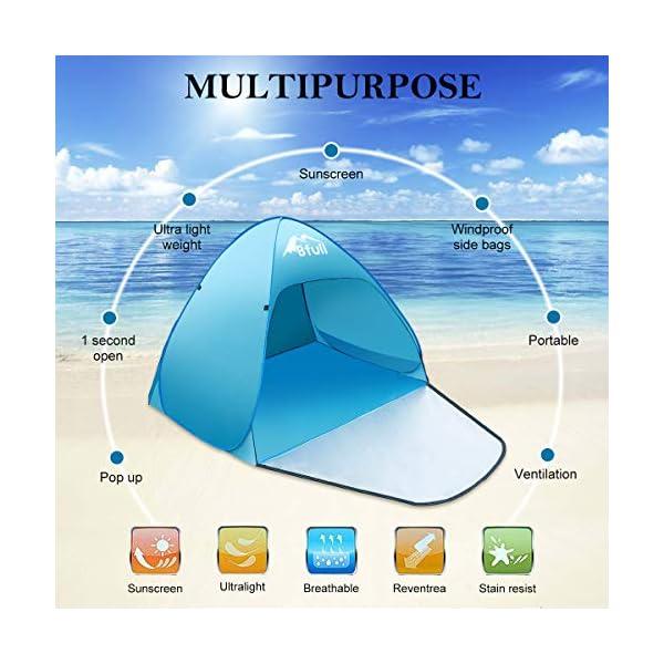 Bfull Tenda Da Spiaggia Per Esterni Portatile Con Protezione Solare Per 1 o 2 Persone, Apertura Istantanea Pop-up Colore… 2 spesavip